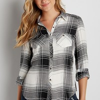 button down textured plaid shirt | maurices