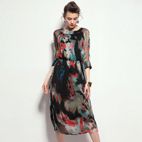 Long Sleeve Silk Printed Dress