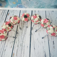 SET OF 4/5/6/7 Small ivory grey and coral wedding BOUQUETS sola Flowers, satin Handle, Flower girl, Bridesmaids, roses vintage custom toss
