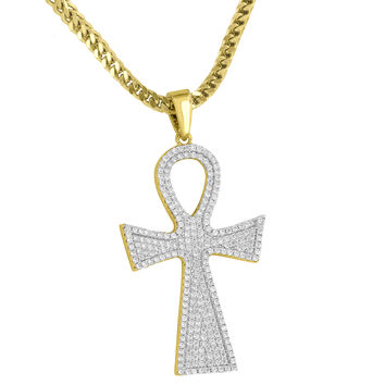 Ankh Cross Iced Out Pendant 18K Gold Tone Free Chain
