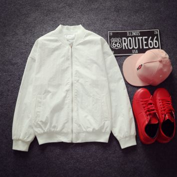 Ulzzang men and women couple coat winter Harajuku wind bf jacket student baseball clothing Black