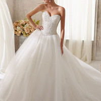Blu by Mori Lee 5216 Beaded Strapless Ball Gown Wedding Dress