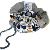 Drawstring Travel Jewelry Pouch / Satchel - Black and Gold Squares with Grey Flannel