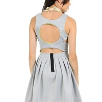 Gray Monique Cut Out Pleated Skater Dress | $ | Cheap Casual Dresses Fashion | MODdeals.com