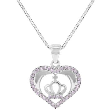 """925 Sterling Silver Pink CZ Heart Crown Pendant Necklace for Girls Teens 16"""""""