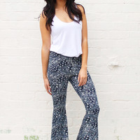 70s Flared High Waist Trousers with Paisley Print in Navy & Cream