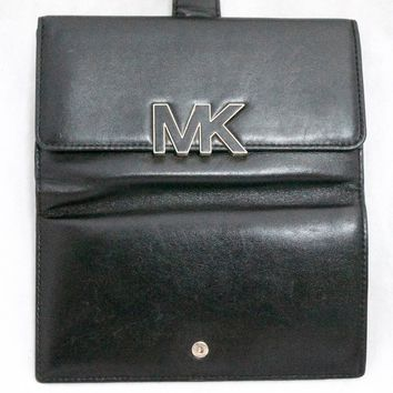 MICHAEL KORS Florence Large Black Leather Billfold Snap Clutch Wallet Organizer