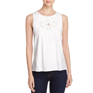 Sanctuary Womens Blossom Eyelet Mixed Media Tank Top