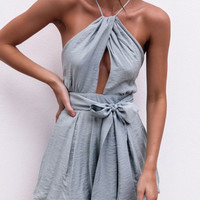 Gray Halter Cross Back Tie Waist Romper