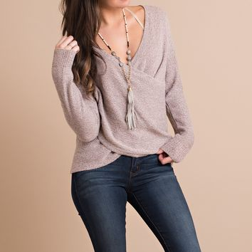 Dreamwork Cross Front Sweater (Mauve)
