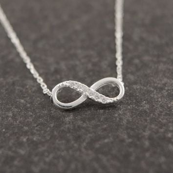 Jisensp New Tiny Infinity Endless Love Women Necklace Jewelry Simple Cute Pendant Chain Female Popular Elegant Necklace N058