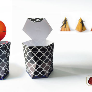 Printable Basketball Box Template, DIY Gift Box, Hexagonal Prism, Pyramid Box - Instant Download