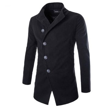 Fashion Brand Winter Men Wool Jacket Coat Stand Collar Single Breasted