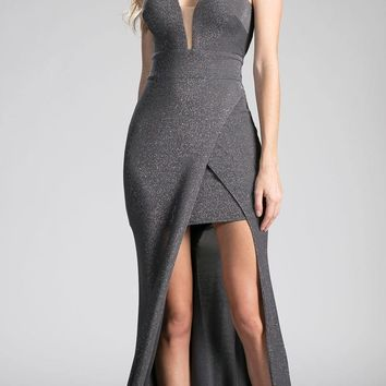 Charcoal-Gray Cut Out Bodice and Back Long Prom Dress