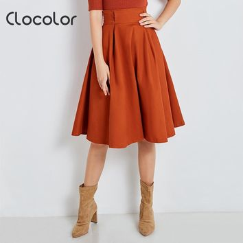 Clocolor Women Cotton  Solid Brown Skirt