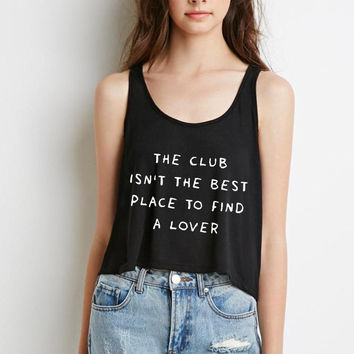"Ed Sheeran ""Shape of You - The club isn't the best place to find a lover"" Boxy, Cropped Tank Top"
