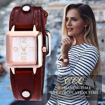 Hot Women Genuine Leather, Casual Female Quartz Watch