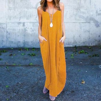 Boho V Neck Sleeveless Dress