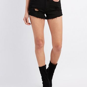 Machine Jeans Destroyed Hi-Rise Denim Shorts