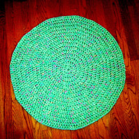 Mint Green Confetti Throw Rug