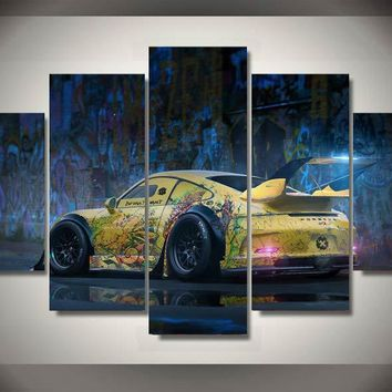 Graffiti yellow abstract race car wall art on canvas room decoration