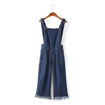 Summer Women's Fashion Korean With Pocket Zippers Tassels Denim Romper [4933132676]