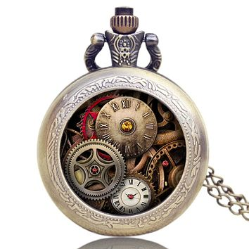 Antique Gear Roma Numbers Glass Dome Quartz Pocket Watch Steampunk Fob Clock With Necklace Chain Men Women Gift Free Shipping