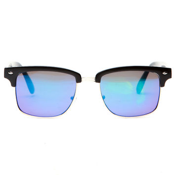 Black and Silver Clubmaster Sunglasses
