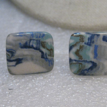 "Vintage  Glass Tile Earrings, Screw Back, Marbled Blue & White, 3/4"",  1950's-1960's"