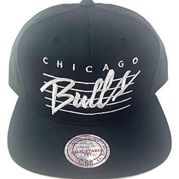 Chicago Bulls Mitchell And Ness Cursive Script Snapback Hat Black