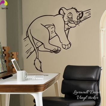 Cartoon Simba Lion King Wall Sticker Baby Nursery Kids Room Cute Animal Cat Branch Tree Wall Decal Vinyl Home Decor Art Mural