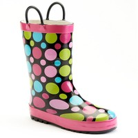 Western Chief Dot Party Toddler Girls' Rain Boots (Black)
