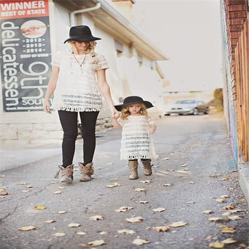 Matching Mother Daughter Dresses Summer clothes Short Sleeve round neck Casual cotton tassels Dresses sleeveless Tops 2PC set