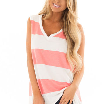 White and Coral Wide Striped V Neck Tank Top