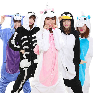 Warm Flannel pajamas for women Pajama Couples Cartoon Sleepwear Adult Animal Onsies Pijama Adulto Unicorn Panda Stitch Pijamas