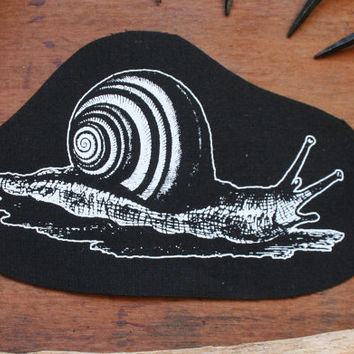 Snail patch - cute patch wiccan sew on patch dark mori girl druid dark forest style patch hedge witch patch nature punk occult patch