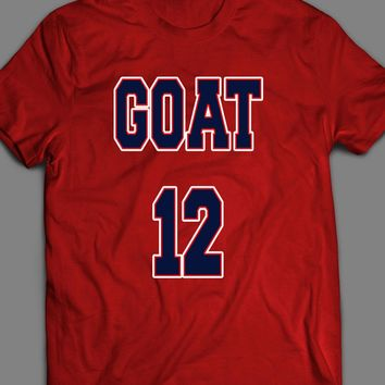 NEW ENGLAND'S TOM BRADY THE GOAT#12 T-SHIRT