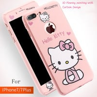 3D Cartoon hello Kitty 360 full cover for iphone 7 6 6s plus shell pink protection case for iphone7 coque -Girllove100