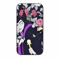Malficient Disney Floral iPhone 4 Case