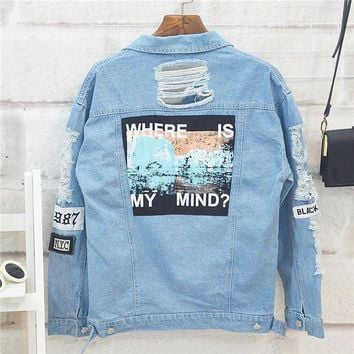 DCCKHQ6 Where is my mind? Korea retro washing frayed embroidery letter patch jeans bomber jacket Light Blue Ripped Denim Coat