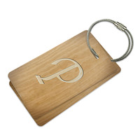 Letter P Wooden Engraving Luggage Tag Set