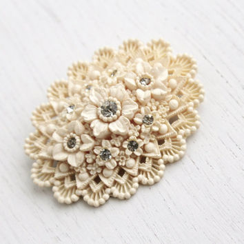 Vintage Rhinestone Flower Brooch - 1940s Celluloid Early Plastic Costume Jewelry Pin / Off White Bouquet