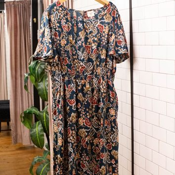 Among the Wildflowers Midi Dress, Teal Mix | Plus Size