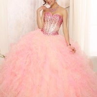 Quinceanera Dress From Vizcaya By Mori Lee Style 88090 Ombre Beaded Bodice On A Two Tone Ruffled Tulle Ball Gown Skirt