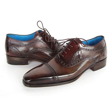Paul Parkman Men's Captoe Oxfords Anthracite Brown Hand-Painted Leather Shoes (Id#024)