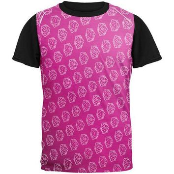PEAPGQ9 D20 Gamer Critical Hit and Fumble Pink Pattern All Over Mens Black Back T Shirt