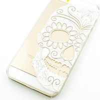 Plastic Case Cover for iPhone 5 5S 5C 6 6Plus (Pick One) Henna Half Sugar Skull mexican dia de los muertos