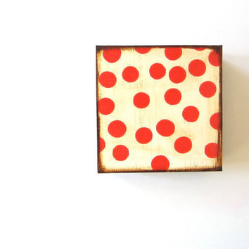 Red and Cream Dots Circles 5x5 art block on wood block geometric pattern polka modern red tile studio