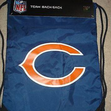 "NWT Chicago Bears NFL Team back sack draw string bag backpack 18"" x 13"" blue"
