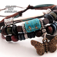 Turquoise center bead leather bracelet with brass butterfly charm from Urban Zen Jewelry Boutique